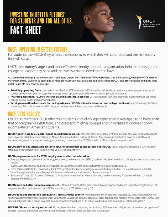 UNCF Fact Sheet